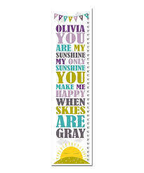 Finny And Zook Purple You Are My Sunshine Personalized Growth Chart