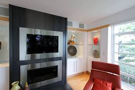 stone fireplace with recessed tv mount tv over