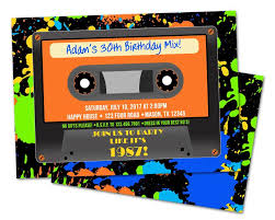 Birthday Invitation Pictures Impressive Boy Cassette Tape Birthday Invitations Party Print Express