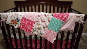baby girl crib bedding blooming cactus fl feathers hot pink arrow fl antlers blush and mint crib bedding ensemble