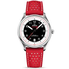 olympic collection black red dial leather strap watch