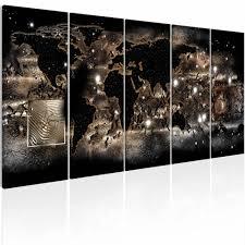 Schilderij Verlichte Wereld Wereldkaart Zwart Beige 5 Luik