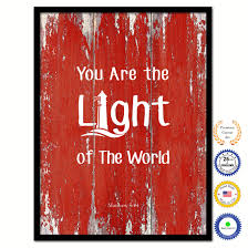 You Are The Light Of The World Matthew 514 Bible Verse Scripture Quote Red Canvas Print With Picture Frame