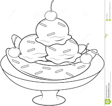 Small Picture Banana Split Coloring Page Stock Illustration Image 52718614