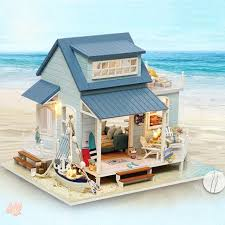 dollhouse furniture diy. DIY House Doll Assemble 3D Wood Dollhouse Furniture Kits Realistic Miniature Toys LED Light For Diy