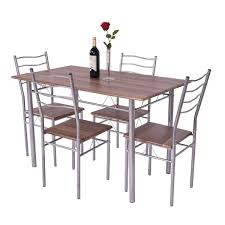 Giantex Modern 5 Piece Dining Table Set With 4 Chairs Metal Frame