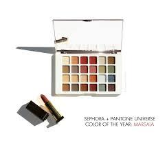 sephora pantone universe pure marsala matte lip creme facets of marsala multi finish eye palette