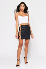 end game black faux leather mini skirt