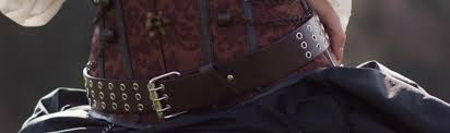 leather dual grommet belt for steampunk renaissance pirates 3 gif