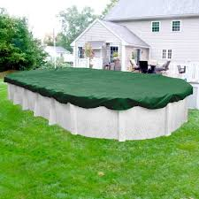 Titan 12 ft. x 24 Pool Size Oval Green Solid Above Ground Winter Cover Robelle