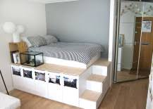 diy storage bed. Nora Of Oh Yes\u0027s DIY Storage Bed Is So Impressive That It\u0027s Nearly Impossible To Believe She Made It Herself. The Elevated Platform And Stairs Separate Diy T