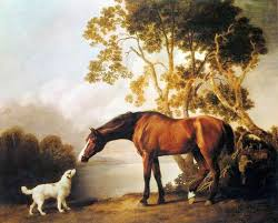 george stubbs bay horse and white dog painting is shipped worldwide including stretched canvas and framed art this george stubbs bay horse and white dog