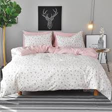 white flowers duvet cover set twin queen king size bedding sets pink 100 cotton bed sheet pillow case fl quilt covers queen size duvet covers black