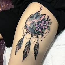 Dream Catcher Tattoo On Thigh Dreamcatcher Tattoo Meanings Dream Catcher Designs 100 75