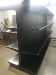 used supermarket metal lozier gondola island shelving black charcoal