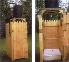 here is another very simple diy shower that uses all inexpensive repurposed materials the tank is an old water heater painted black to absorb the heat of