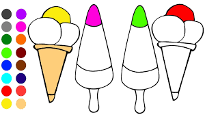 Ce Cream Coloring Game L Coloring Book Learn Colors For Children