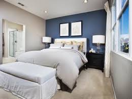 Blue Accent Wall Bedroom From Rectangular Wooden Table