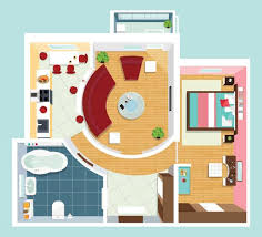 floor plan with furniture. vector art illustration modern detailed floor plan for apartment with furniture top view of