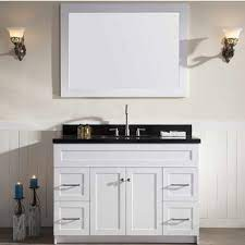 Hamlet Bathroom Vanity With Absolute Black Marble Or White Quartz Countertop By Ariel Kitchensource Com