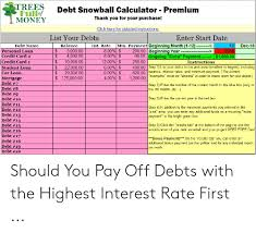Trees Debt Snowball Calculator Premium Thank You For Your