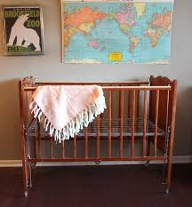 vintage baby crib maple wood with painted flowers kroll krib 125 00 via
