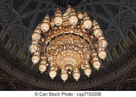 chandelier in the grand mosque in mu sultanate of oman csp7153358
