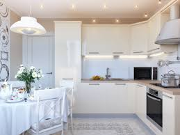 Cream Gloss Kitchen Tile L Shaped Kitchen With Cool Cream Cabinets Idea And Unique Pendant