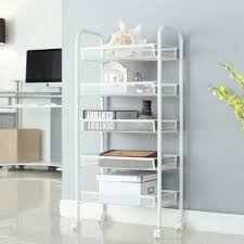 office rolling cart. (Cart 5 White) LANGRIA 5-Tier Metal Mesh Rolling Cart For Kitchen Pantry Office Rolling Cart