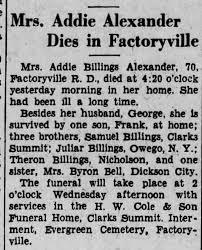 Addie Alexander Billings Obit - Newspapers.com