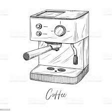 Beyaz Arka Planda Izole Kahve Makinesi Kroki Çizim Stilinde Vektör Çizimi  Stok Vektör Sanatı & El'nin Daha Fazla Görseli - iStock