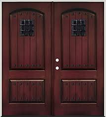 rustic pre finished mahogany fiberglass prehung double door unit with speakeasy clavos