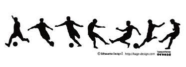 サッカーシュートを放つ選手達 シルエットデザイン