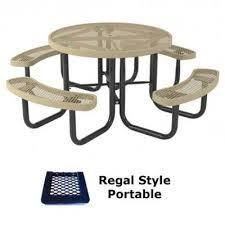 picnic tables 46 round regal picnic table portable surface and inground mount