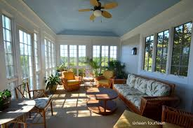 Absolutely LOVED the sunroom, especially all the windows and the blue  painted ceiling! Description