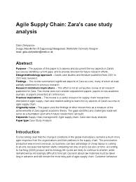 zara strategic analysis anil nembang zara case study odyssey  agile supply chain zara case study analysis
