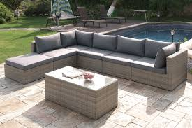 home modular patio sets tan wicker grey cushions