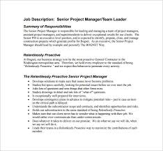 Project Manager Duties 9 Project Manager Job Description Templates Free