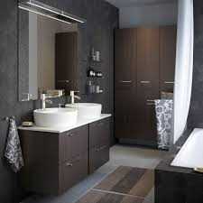 Bathroom High Cabinet A Light Grey Small Bathroom With White High Cabinet Mirror And O