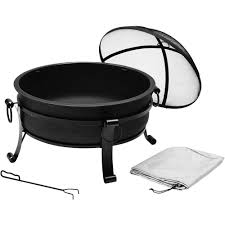 round outdoor fire pit steel solid bowl heater garden patio backyard fireplace