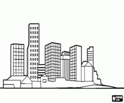 Kleurplaat Skyline Van De Stad Met Wolkenkrabbers Kleurplaten