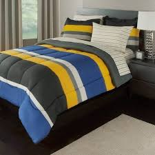 5 piece boys twin rugby stripes bed in a bag comforter set with sheet set yellow