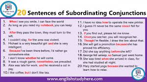 20 Sentences Of Subordinating Conjunctions Subordinating