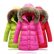 2016 winter new girls thicking down jacket kids girls long section of real fur collar waterproof