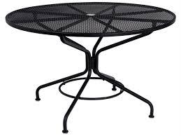 woodard mesh wrought iron 48 round table with umbrella hole in mercury finish 280137n 17
