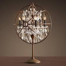 factory vintage crystal candle lighting rustic matt black chandelier table lamp