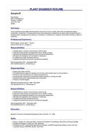 Plant Engineer Resumes 2 Plant Engineer Resume Samples