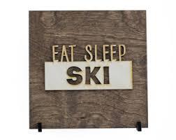 cabin decor lodge sled: eat sleep ski wood sign cabin decor winter signs ski resorts outdoor adventure lodge decor mountain sign winter decorations
