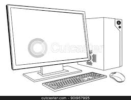 computer clipart black and white.  And Computer In Clipart  ClipartFest Library Stock Inside Clipart Black And White