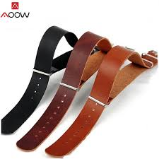 aoow pu leather zulu watchband strap nato imitation leahter watch band 18mm 20mm 22mm 24mm watch accessories replacement watch bands hirsch watch bands from